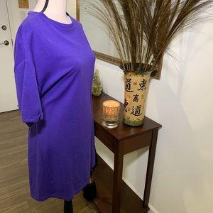 ZARA Purple Short Sleeve T-Shirt Dress Large
